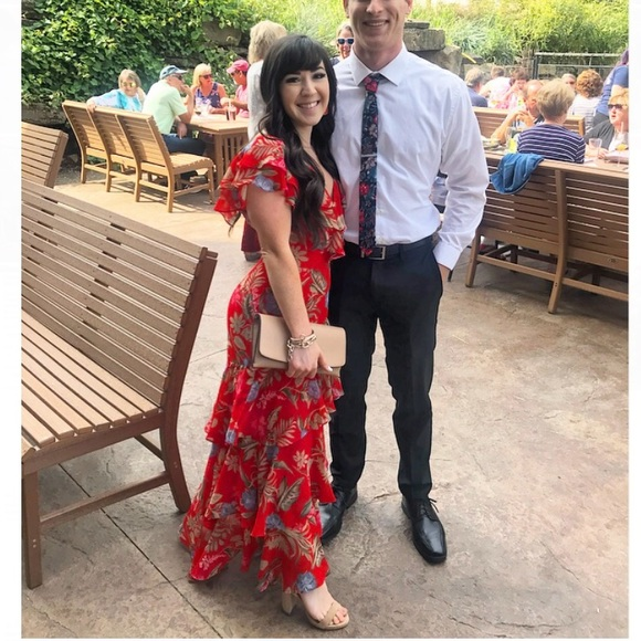 WAYF Chelsea tiered red floral midi dress